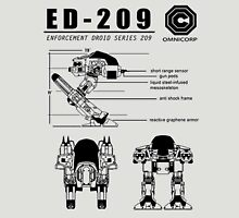 ED-209 Blueprint Omnicorp Robo 80s Cop Movie Weller New Robot Unisex T-Shirt
