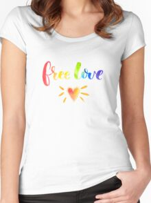 Free love. Rainbow quote Women's Fitted Scoop T-Shirt