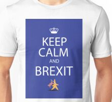 Keep calm and Brexit EU star walking away carrying UK flag Unisex T-Shirt