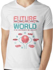 Future World Map Mens V-Neck T-Shirt