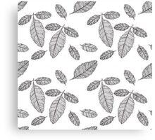 Monochrome Leaf Pattern Canvas Print
