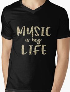 Music is my Life Quote Mens V-Neck T-Shirt