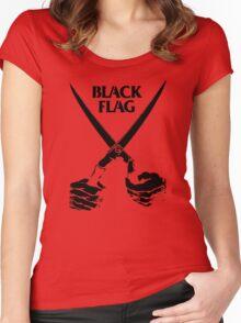 Retro Punk Restyling   - Black Flag scissors Women's Fitted Scoop T-Shirt