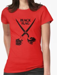 Retro Punk Restyling   - Black Flag scissors Womens Fitted T-Shirt