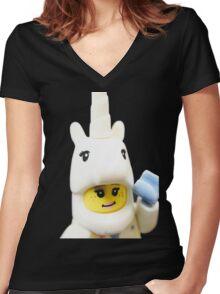 UNICORN GIRL Women's Fitted V-Neck T-Shirt