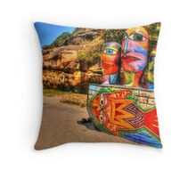 Colourful Sculpture by the Sea Throw Pillow