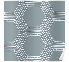Cool Blue Hexagon Poster