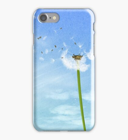 Dandelion Blue Sky Nature Illustration iPhone Case/Skin