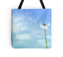 Dandelion Blue Sky Nature Illustration Tote Bag