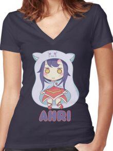 Ahri chibi Women's Fitted V-Neck T-Shirt
