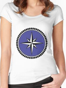 Nautical round north south east west dial Women's Fitted Scoop T-Shirt