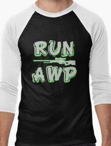 Run AWP white Men's Baseball ¾ T-Shirt