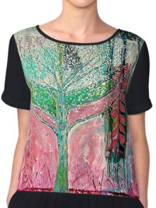 Acid tree japaneese cherry blossom watercolor Chiffon Top