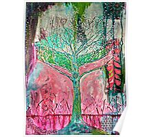 Acid tree japaneese cherry blossom watercolor Poster