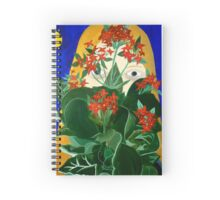 Girl with red flowers Spiral Notebook