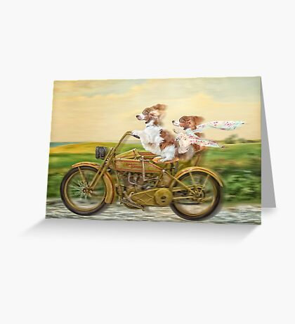Sidecar Sisters - two welshies take a ride Greeting Card