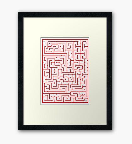 Maze in Red Framed Print