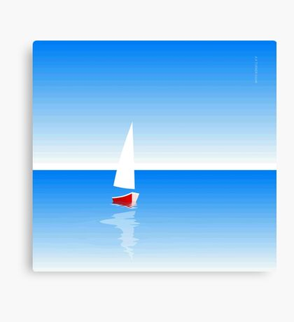 Boat on Calm Blue Sea - Red Boat Canvas Print