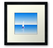 Boat on Calm Blue Sea - Purple Boat Framed Print
