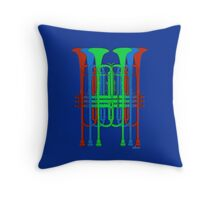 Six Trumpets red blue green Throw Pillow