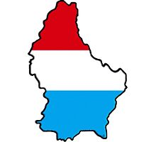 Luxembourg Map With Flag Photographic Print