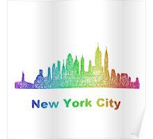 Rainbow New York City skyline Poster