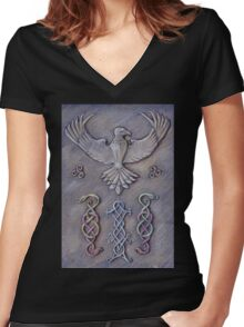 Eagle and knots Women's Fitted V-Neck T-Shirt