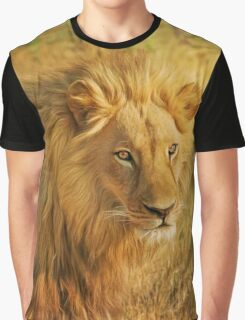 Male Lion Feline Design Graphic T-Shirt