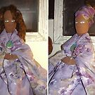 Lavender and Sage Handmade African American Art Doll by F. Magdalene Austin