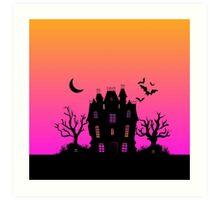 Haunted Silhouette Rainbow Mansion Art Print