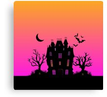 Haunted Silhouette Rainbow Mansion Canvas Print