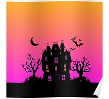 Haunted Silhouette Rainbow Mansion Poster