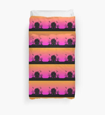 Haunted Silhouette Rainbow Mansion Duvet Cover