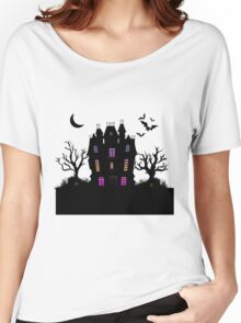 Haunted Silhouette Rainbow Mansion Women's Relaxed Fit T-Shirt