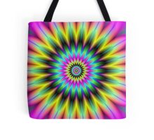Pink Yellow and Green Flower Tote Bag