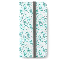Tiffany Aqua Blue Party Streamers on White iPhone Wallet/Case/Skin