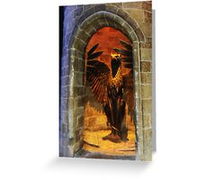 Fawkes the Phoenix at the entrance to dumbledores office Greeting Card