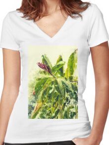 Rubber tree AKA Rubber fig (Ficus elastica) Digitally Manipulated Women's Fitted V-Neck T-Shirt