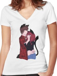 Black Wolf x Black Cat Women's Fitted V-Neck T-Shirt