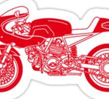 Retro Cafe Racer Bike - Red Sticker