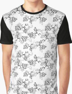 White Flower Pattern Graphic T-Shirt