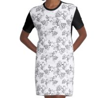 White Flower Pattern Graphic T-Shirt Dress