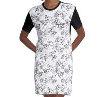 White Flower Pattern Graphic T-Shirt Dress