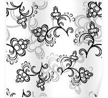White Flower Pattern Poster