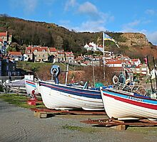 Boats at ease, Runswick Bay by Funkylikeabee