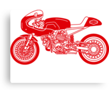 Retro Cafe Racer Bike - Red Canvas Print