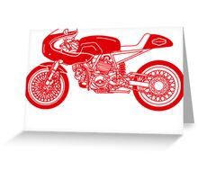 Retro Cafe Racer Bike - Red Greeting Card