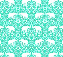 Elephant Damask Mint by Jacqueline Maldonado