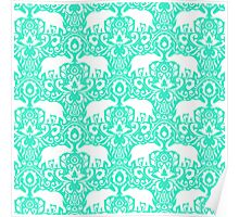Elephant Damask Mint Poster