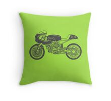 Retro Cafe Racer Bike - Grey Throw Pillow